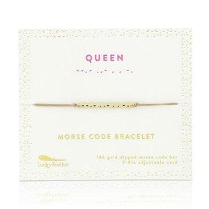 Lucky Feather Morse Code Bar Bracelet - QUEEN