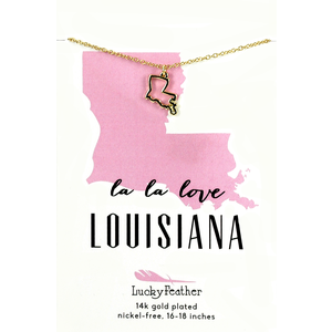 Lucky Feather State Necklace - Gold - LOUISIANA