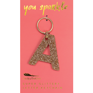 Lucky Feather Glitter Keychain - Letter - A