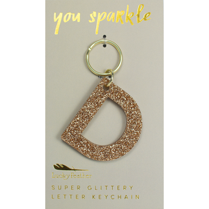 Lucky Feather Glitter Keychain - Letter - D
