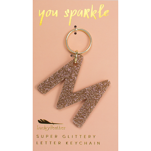 Lucky Feather Glitter Keychain - Letter - M