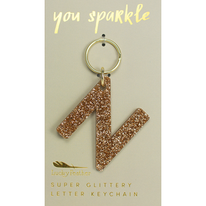 Lucky Feather Glitter Keychain - Letter - N