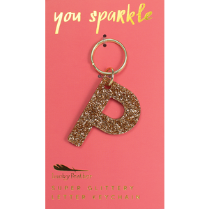 Lucky Feather Glitter Keychain - Letter - P
