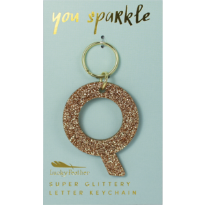 Lucky Feather Glitter Keychain - Letter - Q