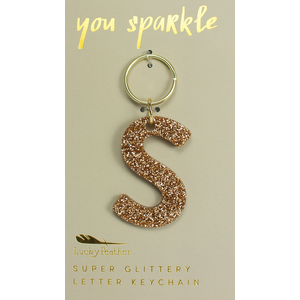 Lucky Feather Glitter Keychain - Letter - S