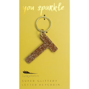 Lucky Feather Glitter Keychain - Letter - T