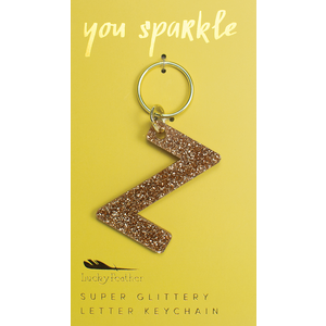Lucky Feather Glitter Keychain - Letter - Z