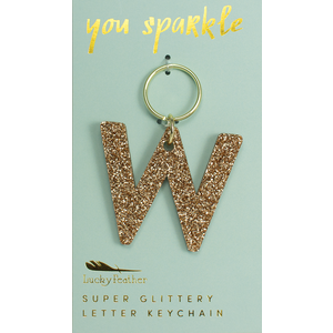 Lucky Feather Glitter Keychain - Letter - W