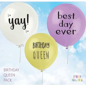 Fun Club Birthday Queen Balloons - Pack of 3 Assorted Colors