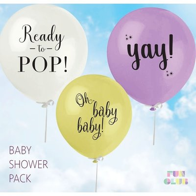 Fun Club Baby Shower Balloons - Pack of 3 Assorted Colors