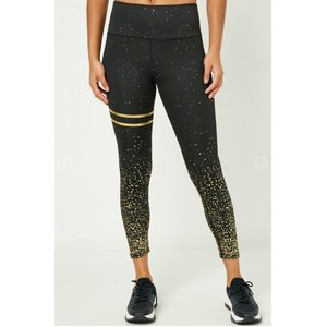 Hayden Womens - Black Legging w/ Gold Foil Detail