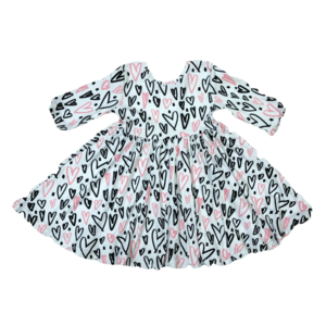 Mila Rose Hand Drawn Hearts Twirl Dress