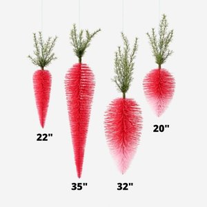 """Glitterville Pink Ombre Hanging Carrot - 22"""""""