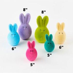 """Glitterville Flocked Bunny Egg (6"""")"""