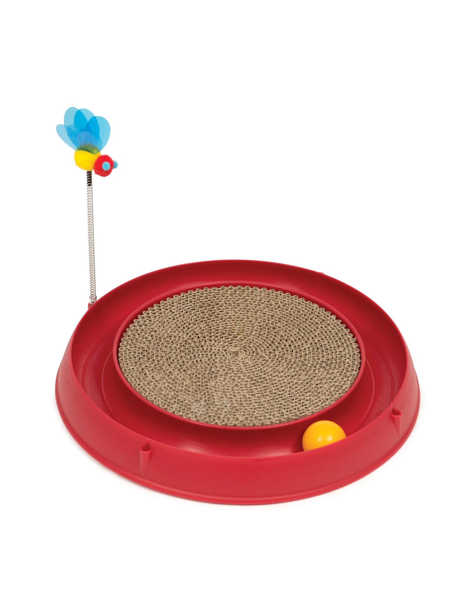 CatIt Catit Play 3 in 1 Circuit Ball Toy with Scratch Pad Red
