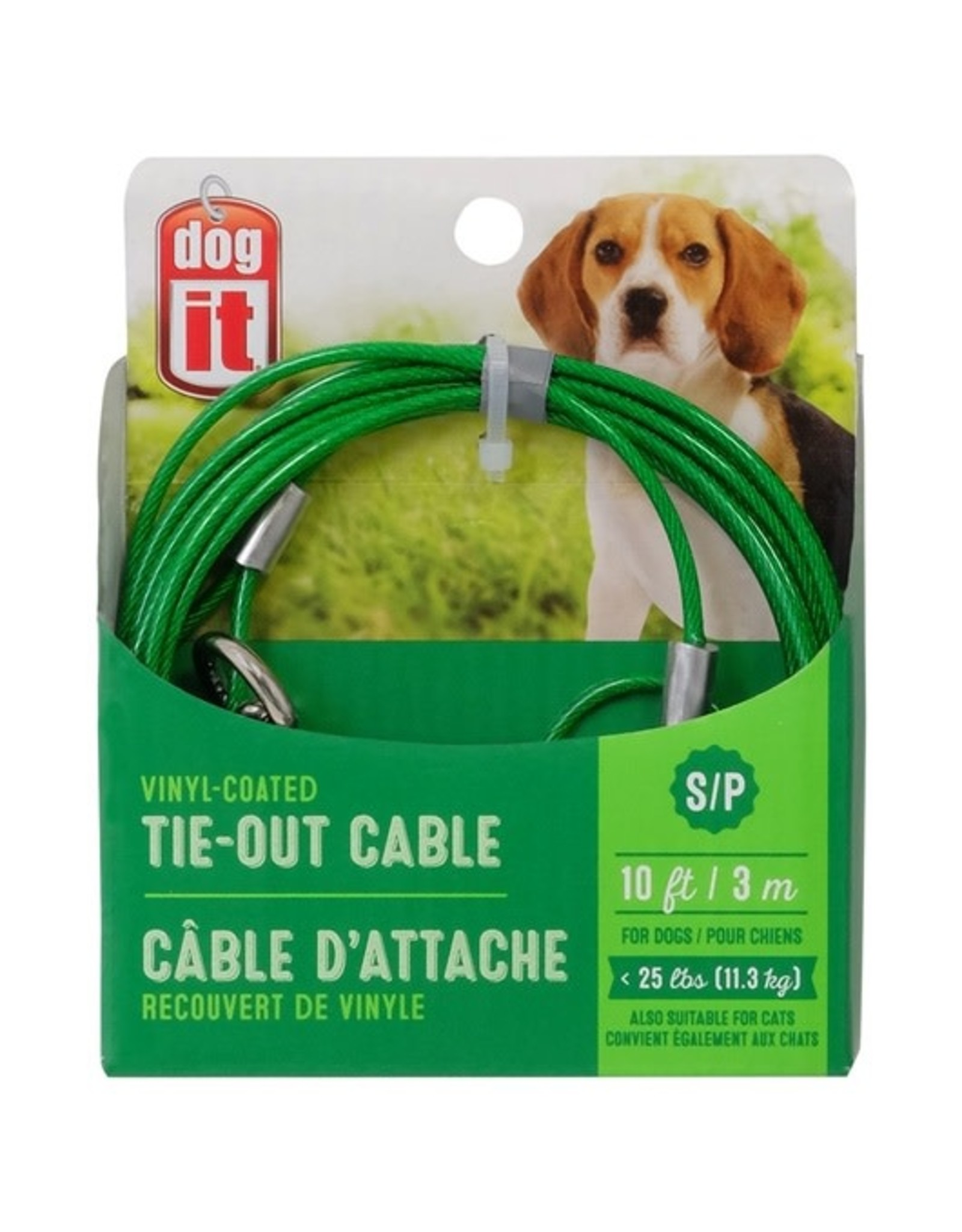 DogIt Tie Out Cable Green Small 3m (10')