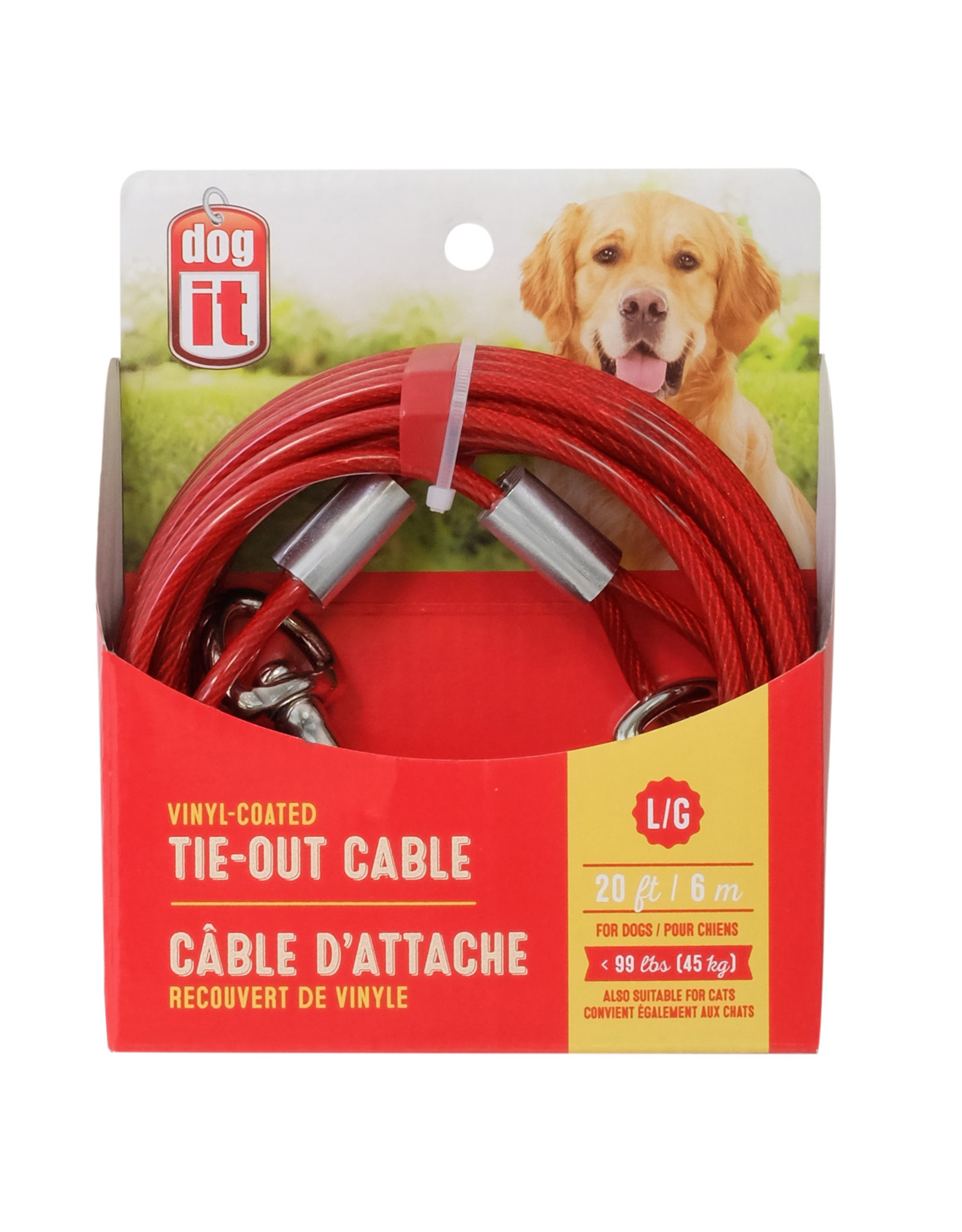DogIt Tie-Out Cable Red Large 6m (20')