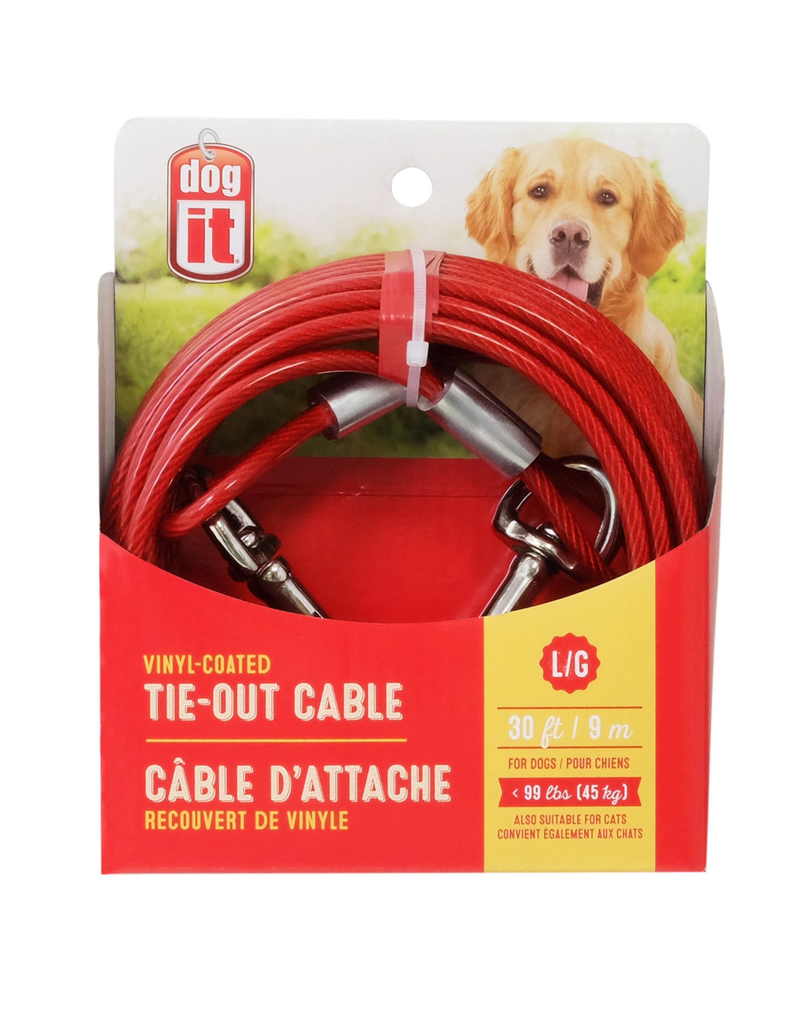 DogIt DogTether Tie-out Cable Red Large 9m (30')