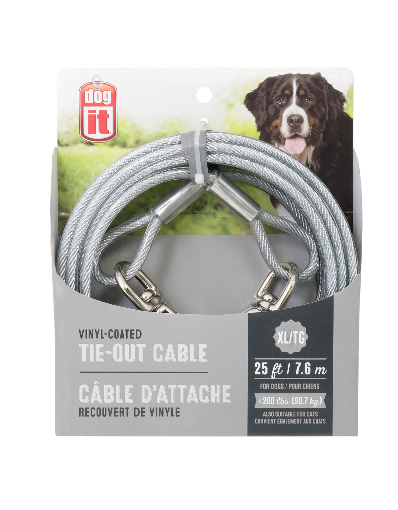 DogIt Tie-Out Cable Clear X-Large 7.6m (25')