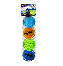 Nerf LED TPR SonicBall/Squeak Tennis 4pk