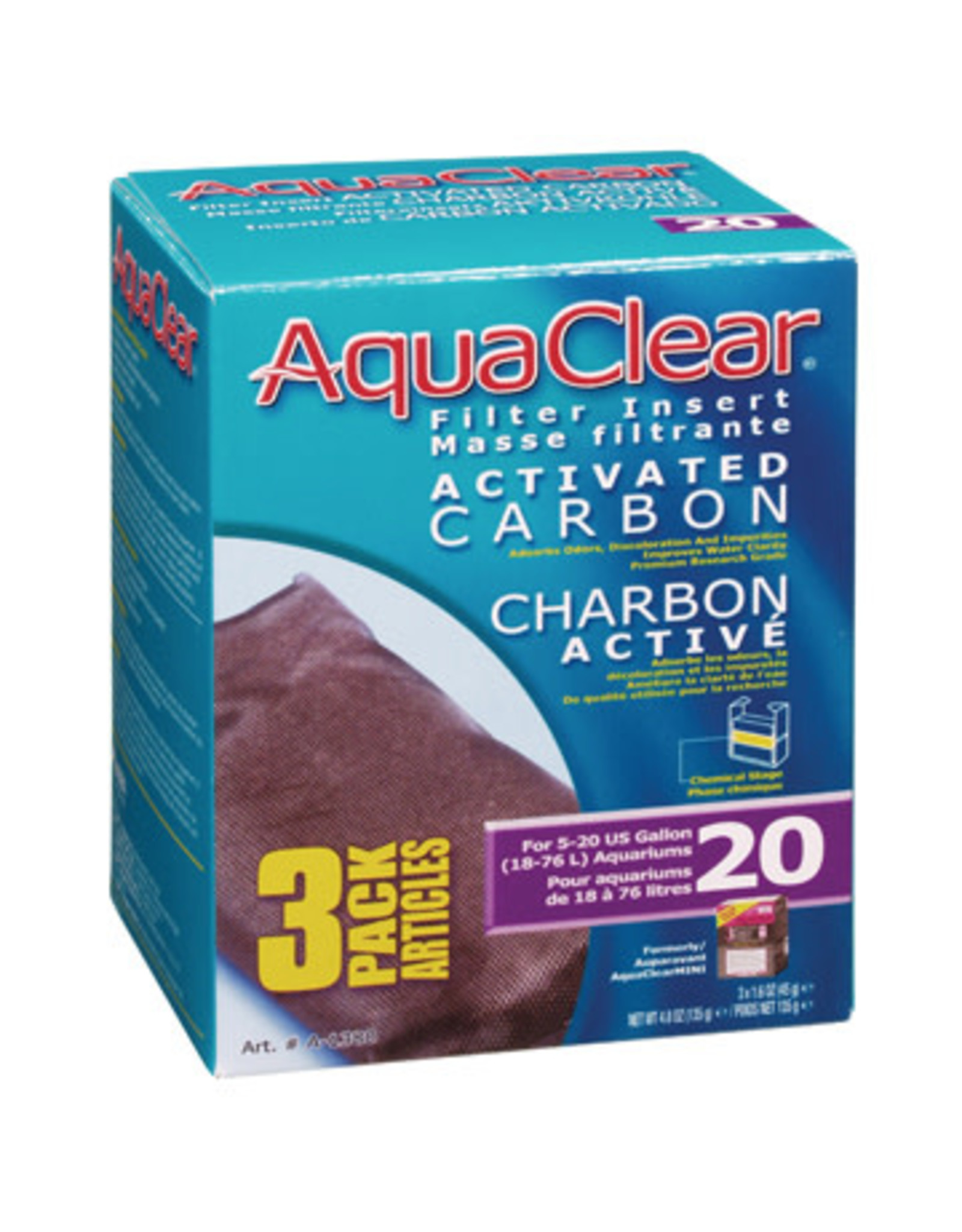 AquaClear AquaClear 20 Activated Carbon Filter Insert 3 Pack 135g