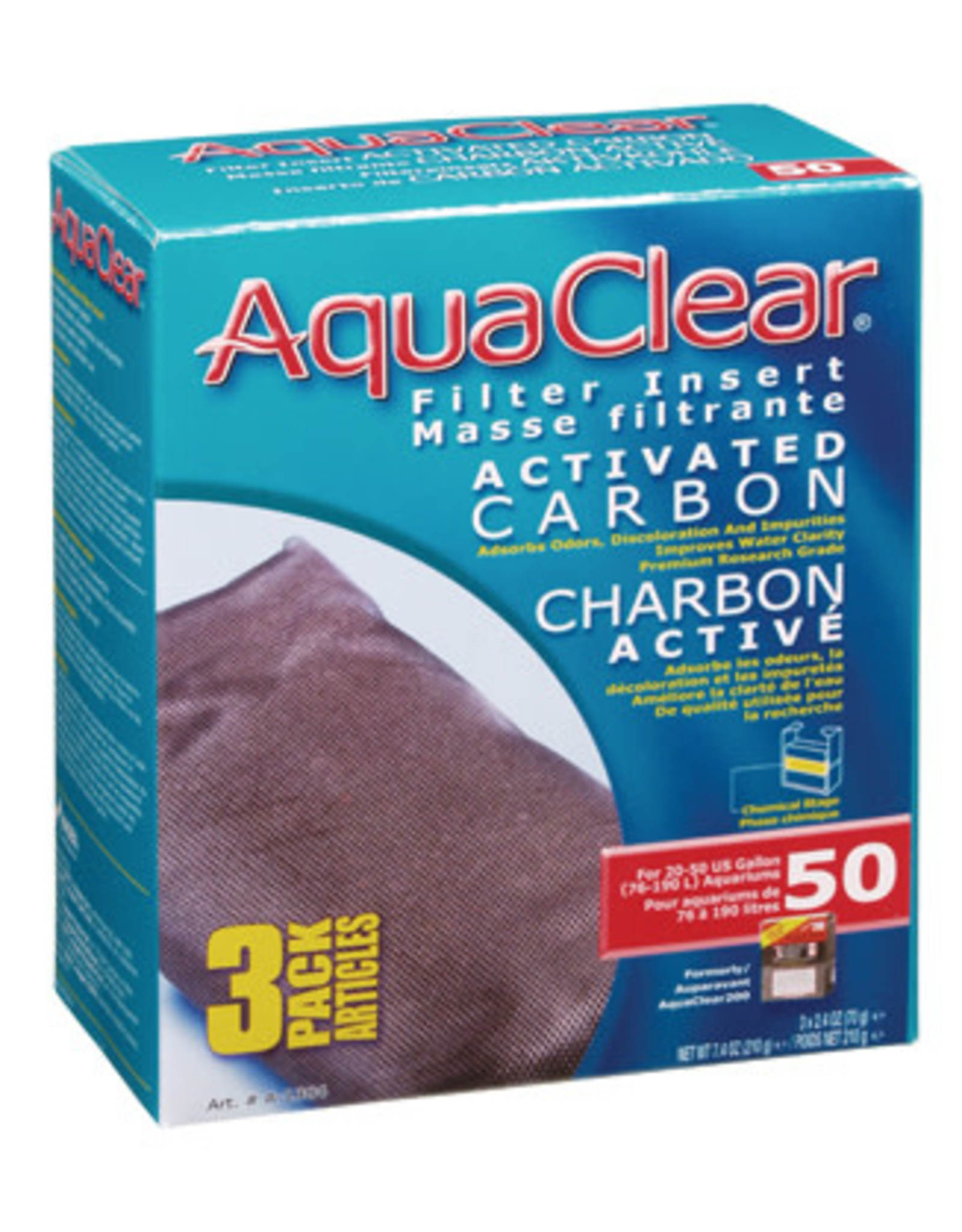 AquaClear AquaClear 50 Activated Carbon Filter Insert 3 Pack 210g