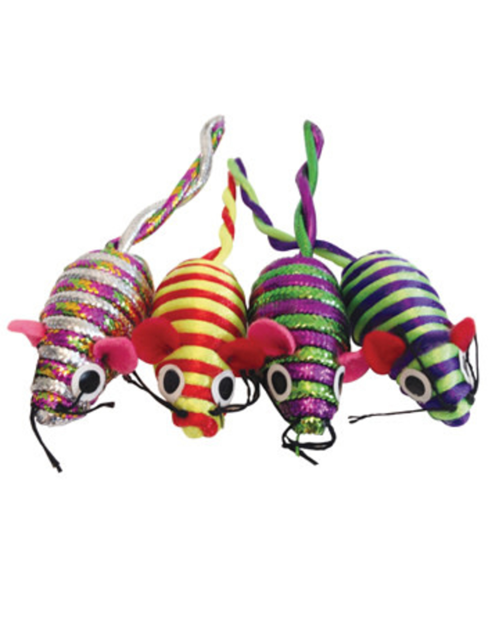Cat Love Furry Frolics Glitter Stripe Catnip Mice 4 Pack