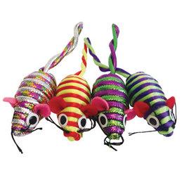 Cat Love Furry Frolics Glitter Stripe Catnip Mice 4 Pack