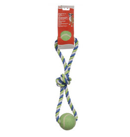 DogIt Knotted Rope Toy Multicoloured 2-Ball Looped Tug