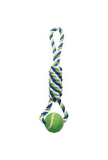 DogIt Knotted Rope Toy Multicoloured Spiral Tug with Tennis Ball