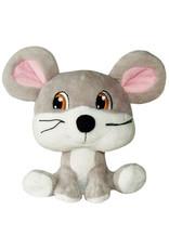 DogIt Gray Mouse Big Heads Plush Dog Toy