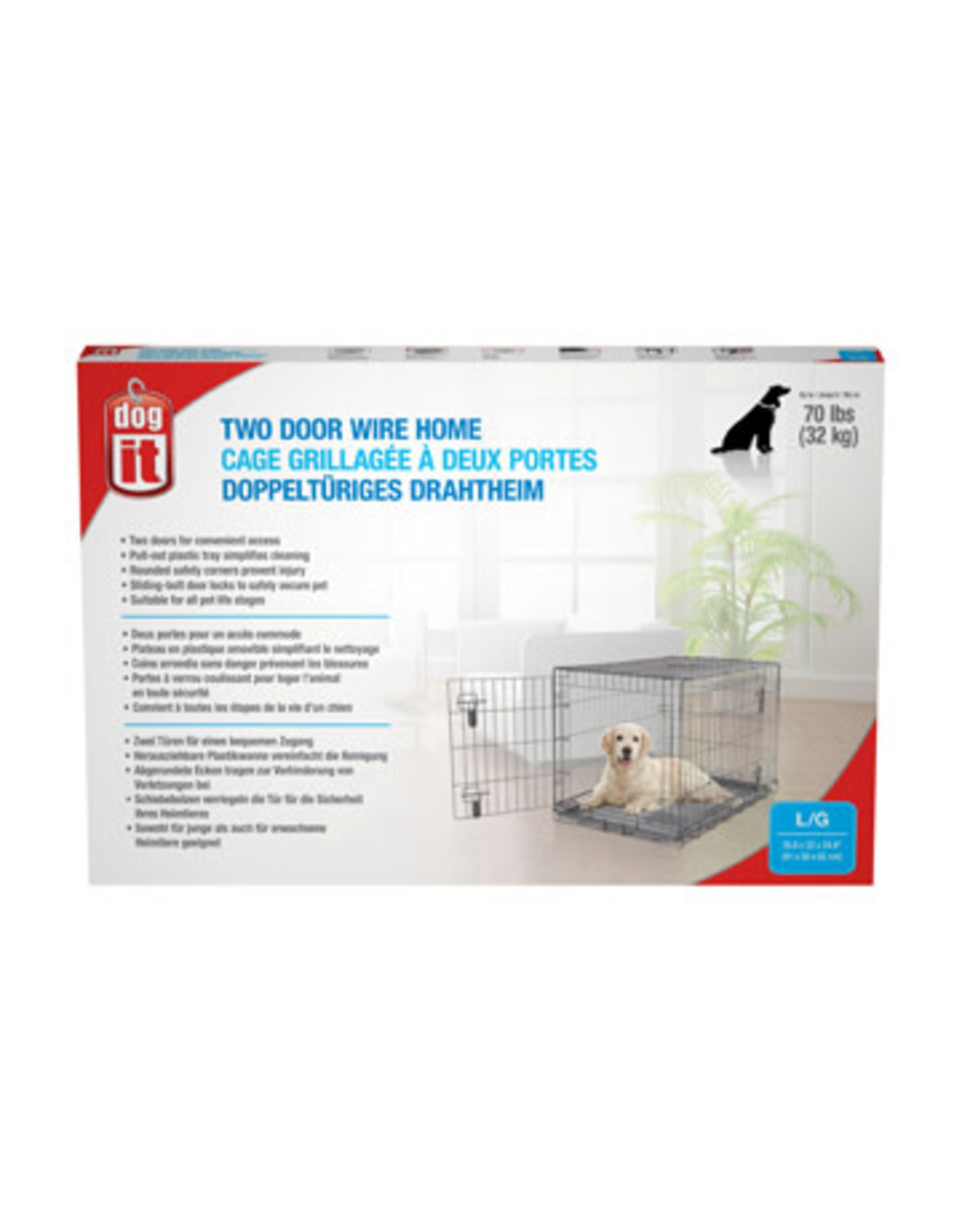 "DogIt Two Door Wire Crates with Divider Large 91x56x62cm (36x22x24.5"")"