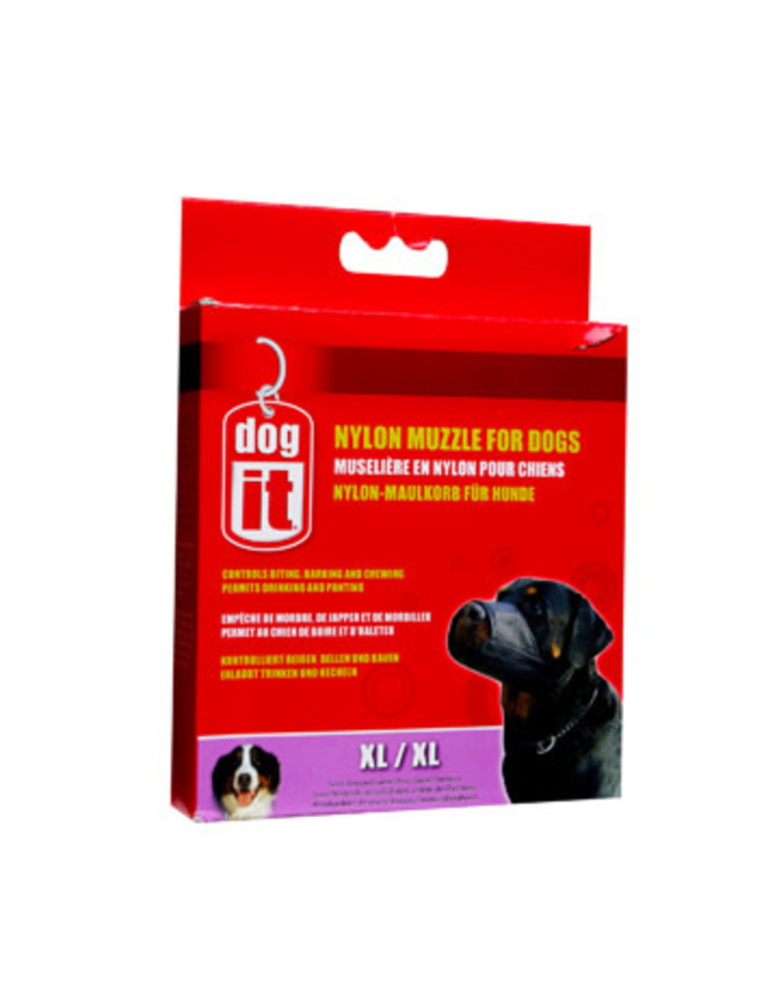 """DogIt Nylon Dog Muzzle Black X Large (21.5cm/8.5"""")"""