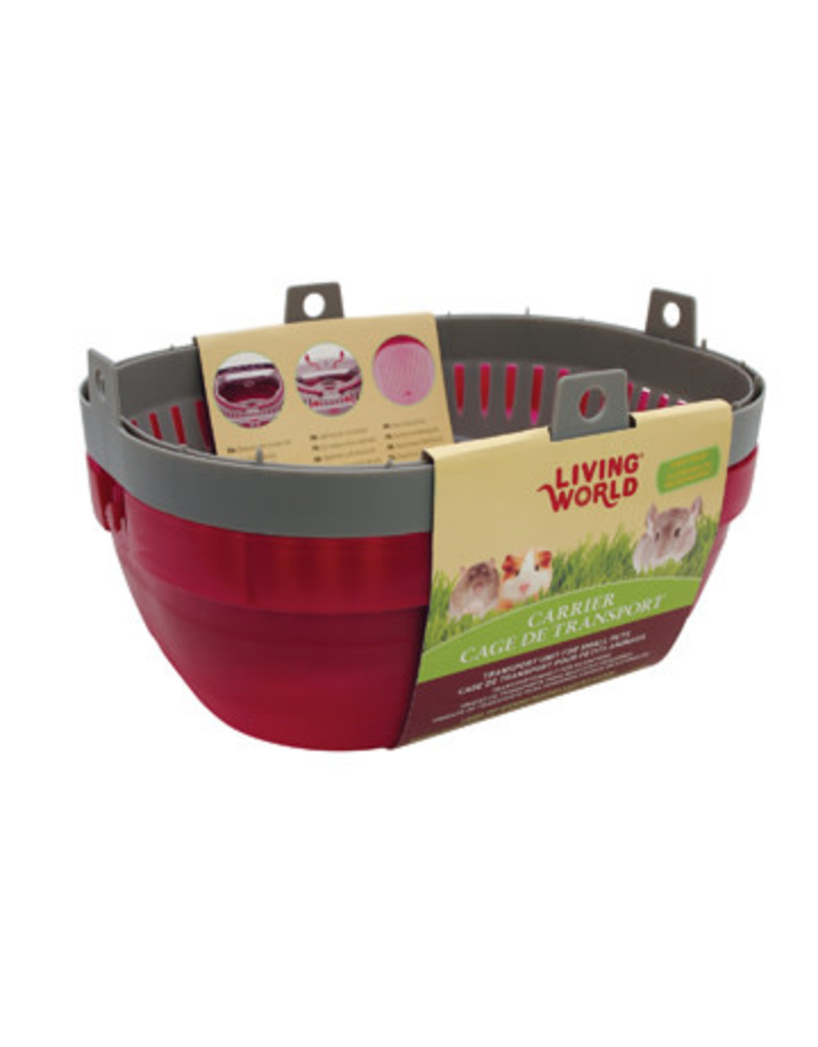 Living World Carrier for Small Pets - Large - Red/Grey