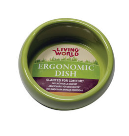 Living World Ergonomic Dish - Small - 120 mL (4.22 oz) - Green/Ceramic