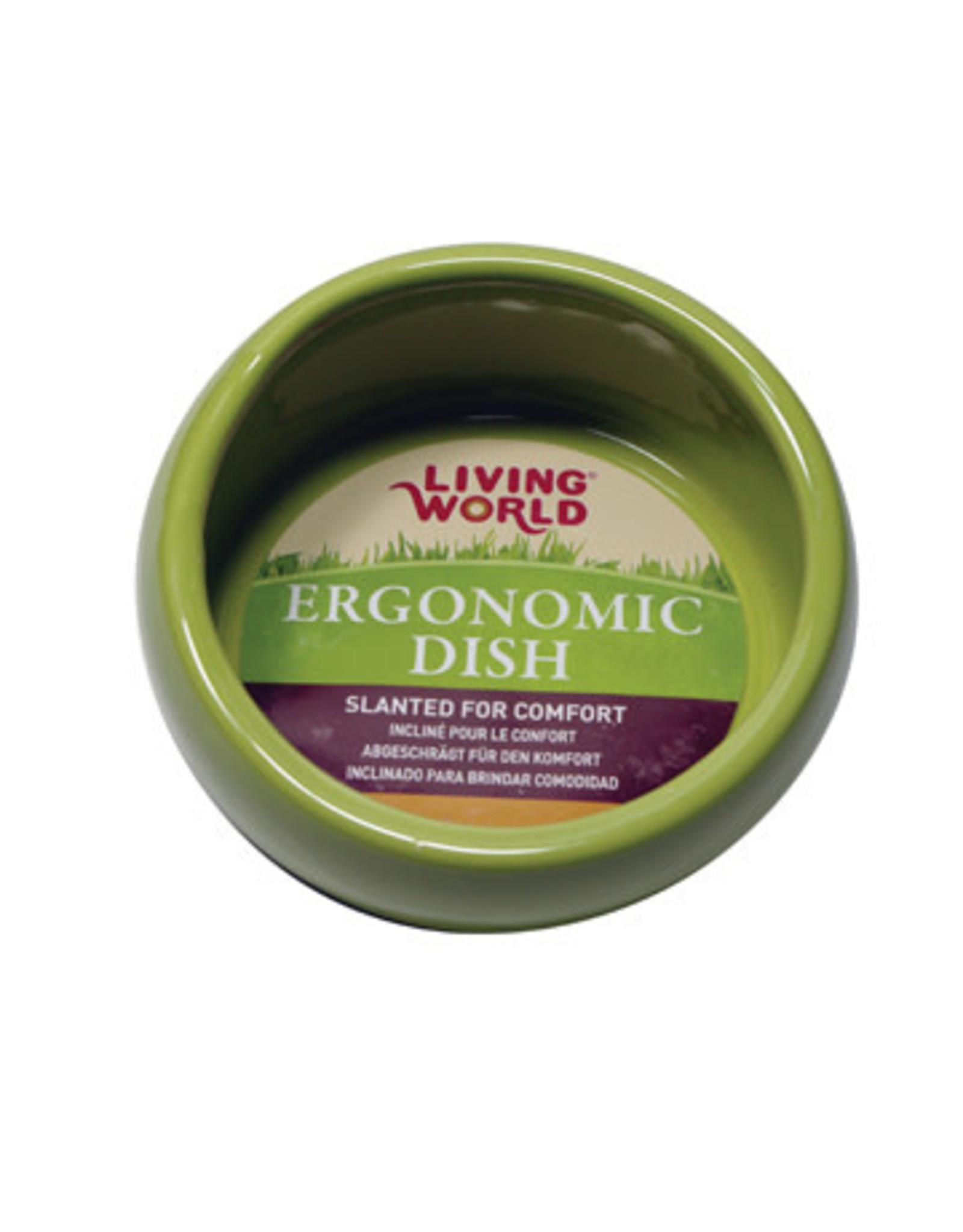 Living World Ergonomic Dish - Large - 420 mL (14.78 oz) - Green/Ceramic