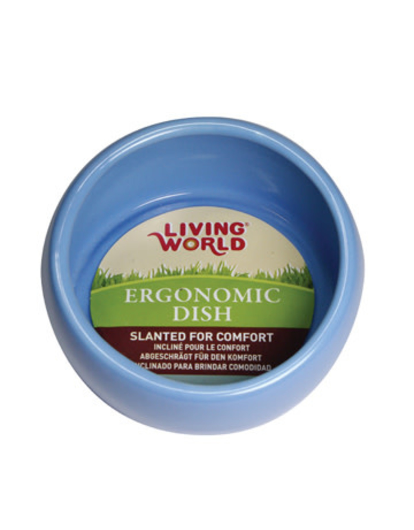 Living World Ergonomic Dish - Large - 420 mL (14.78 oz) - Blue/Ceramic