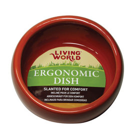 Living World Ergonomic Dish - Small - 120 mL (4.22 oz) - Terra Cotta/Ceramic