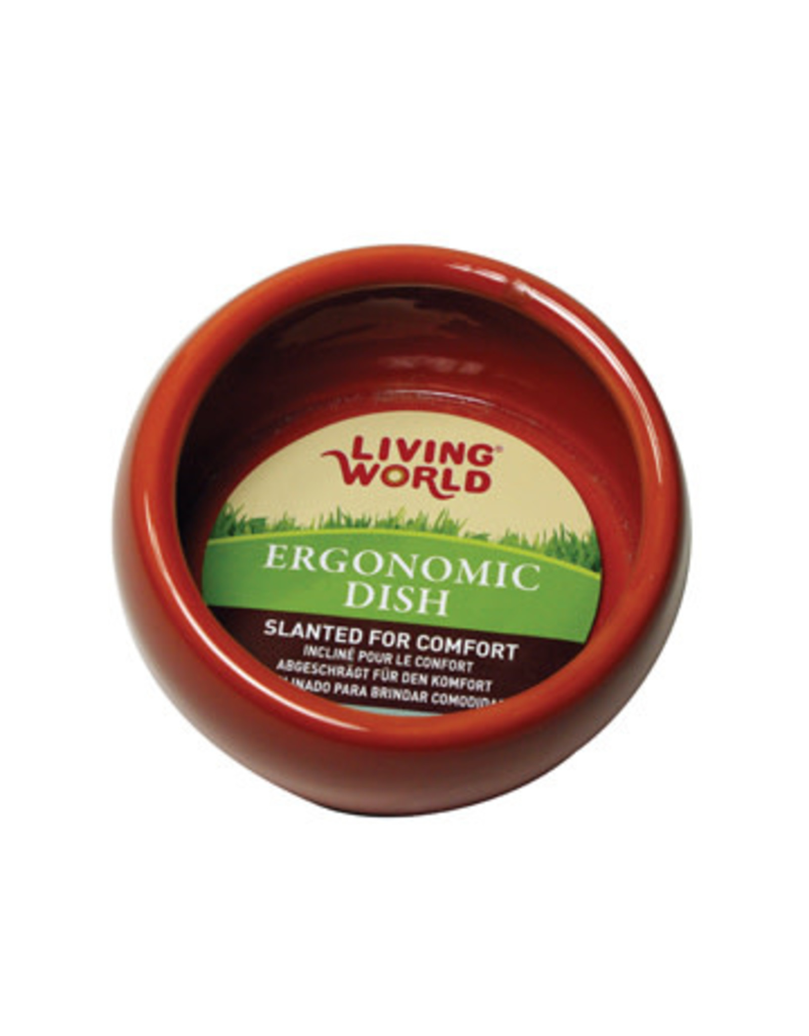Living World Ergonomic Dish - Large - 420 mL (14.78 oz) - Terra Cotta/Ceramic