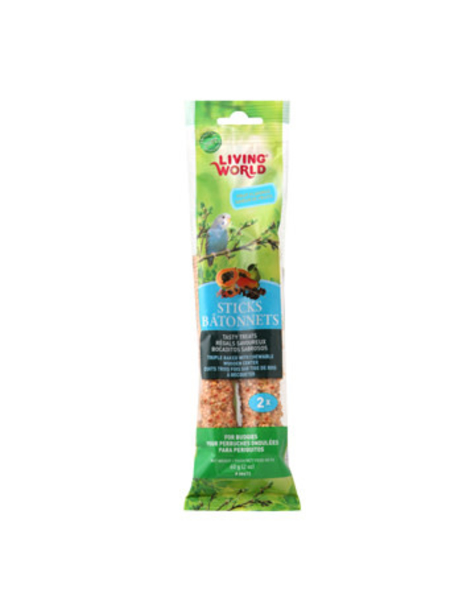 Living World Budgie Sticks - Fruit Flavour - 60 g (2 oz), 2-pack