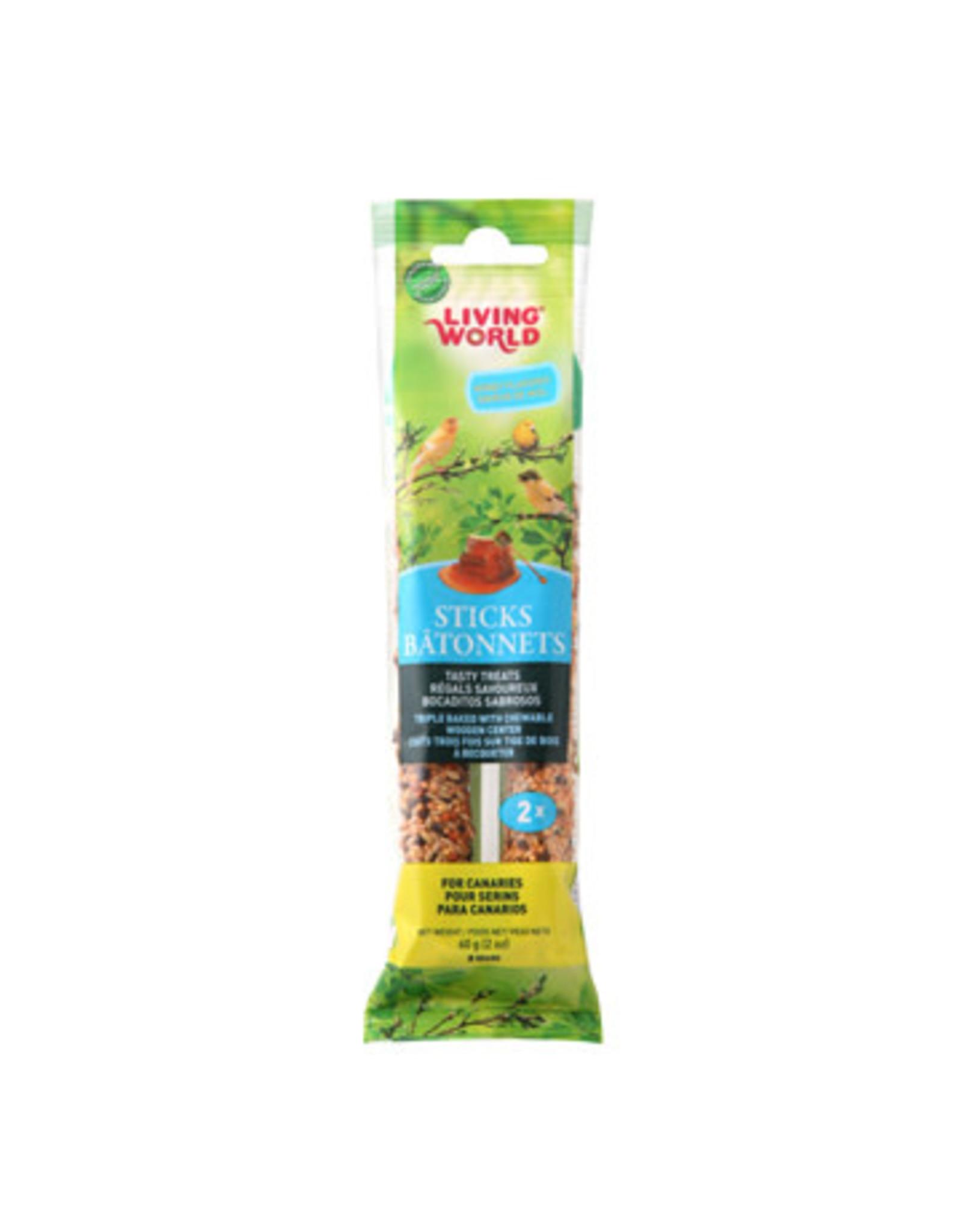 Living World Canary Sticks - Honey Flavour - 60 g (2 oz), 2-pack