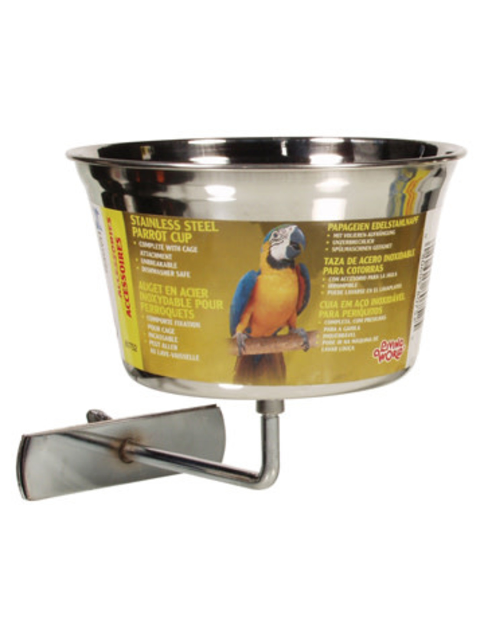 Living World Living World Stainless Steel Parrot Cup - Large - 960 ml (32 oz)