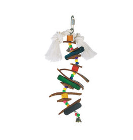 Living World Junglewood Bird Toy, Small Skewer With Wood Pegs, Plastic Beads, Leather Strips and Bell with hanging Clip
