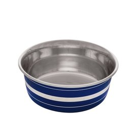 DogIt Stainless Steel Non-Skid Bowl Blue Stripe 560ml
