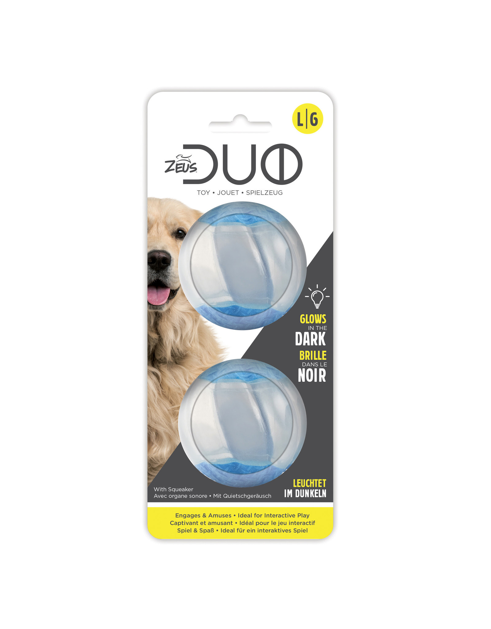 DogIt Duo Ball, 6.3cm with Squeaker&Glow, 2pk