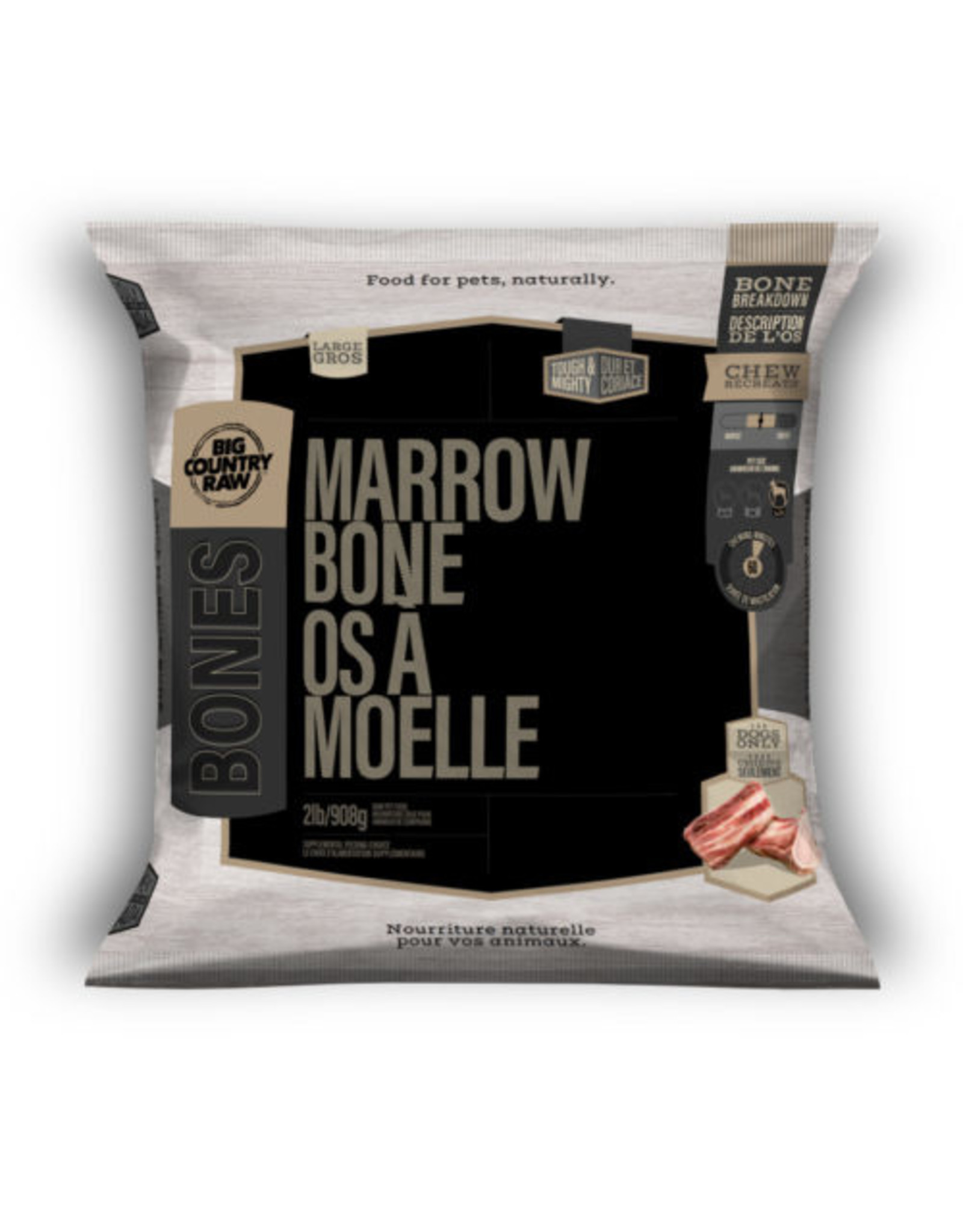 Big Country Raw Beef Marrow Bone Large 2lb Bag