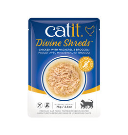 CatIt Divine Shreds - Chicken with Mackerel & Broccoli - 75g Pouch