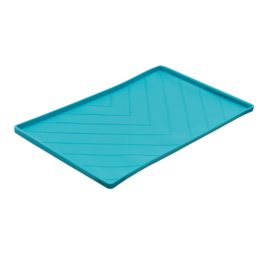 """Messy Mutts Messy Mutts Silicone Mat with Metal Rods Blue 20""""x12"""""""