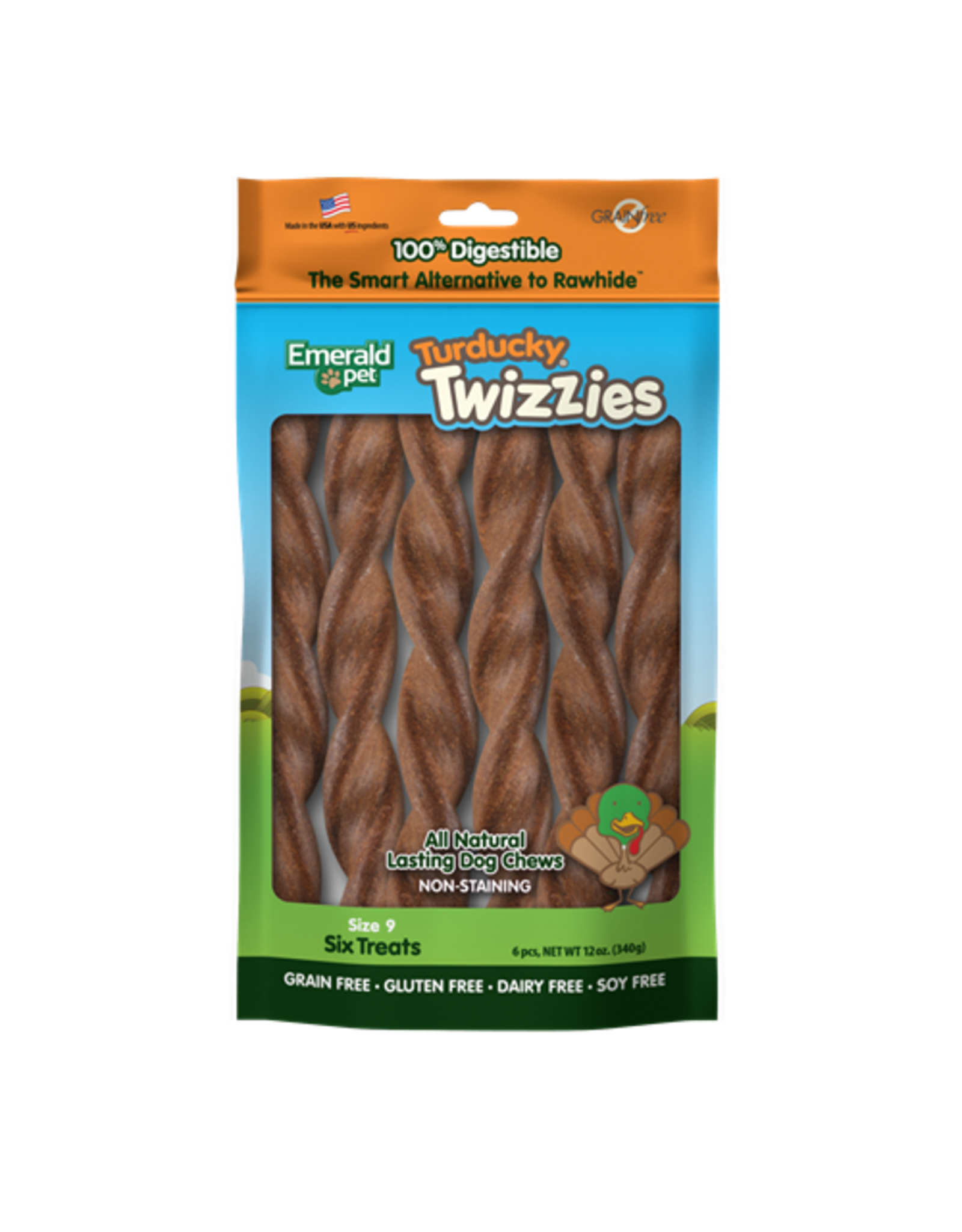 "Emerald Pet Emerald Pet Twizzies Turducky 6 Pack 9"""