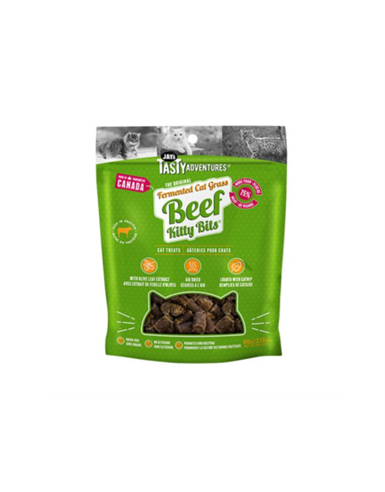 Jay's Tasty Adventures Jays Fermented Cat Grass Beef Cat Treats 60g